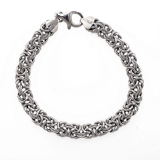 Made In Italy Sterling Silver 75 Inch Hollow Byzantine Chain Bracelet