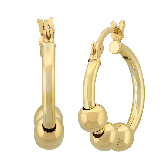 18K Gold Over Silver 1 Inch Hoop Earrings