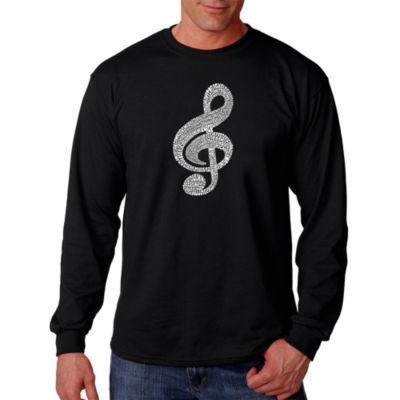 Los Angeles Pop Art Music Note Word Art Long Sleeve T-Shirt