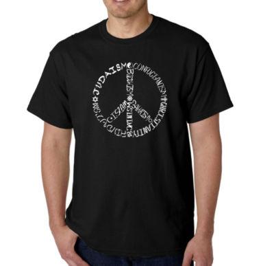 Los Angeles Pop Art Different Faiths Peace Sign Logo Graphic Word Art T-Shirt