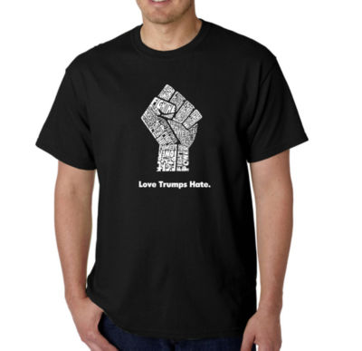 Los Angeles Pop Art Love Trumps Hate Fist Logo Graphic Word Art T-Shirt