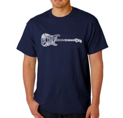 Los Angeles Pop Art Rock Guitar Logo Graphic WordArt T-Shirt