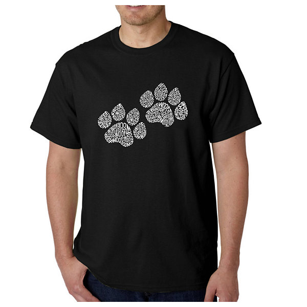 Los Angeles Pop Art Woof Paw Prints Logo Graphic Word Art T-Shirt