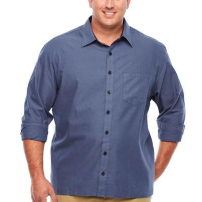 Van Heusen Long Sleeve Never Tuck Button-Front Shirt-Big and Tall