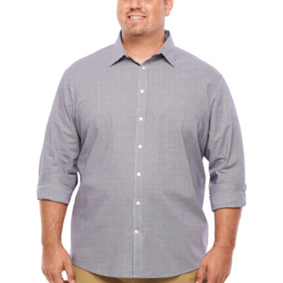 Claiborne Long Sleeve Dots Button-Front Shirt-Big and Tall