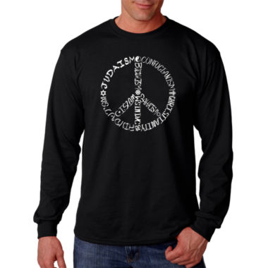Los Angeles Pop Art Different Faiths Peace Sign Word Art Long Sleeve T-Shirt- Men's Big and Tall
