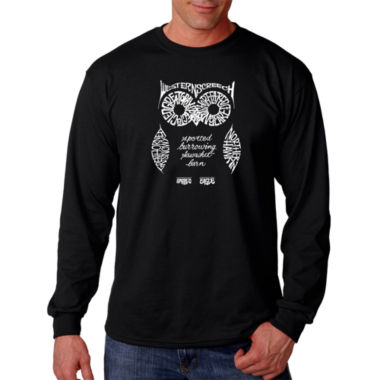 Los Angeles Pop Art Owl Word Art Long Sleeve T-Shirt- Men's Big and Tall