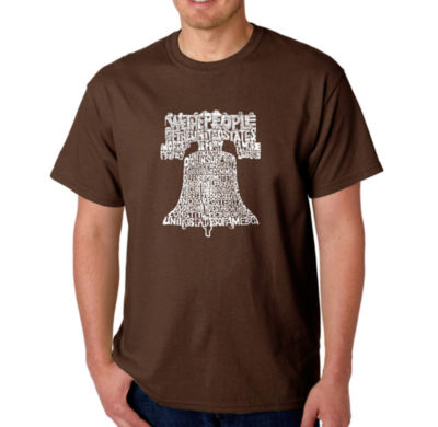 Los Angeles Pop Art Liberty Bell Logo Graphic WordArt T-Shirt- Men's Big and Tall