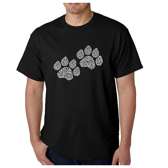 Los Angeles Pop Art Woof Paw Prints Mens Graphic T-Shirt-Big and Tall