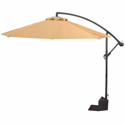 Island Umbrella Santiago 10-ft Octagonal Cantilever Spa Side Umbrella in Stone Olefin