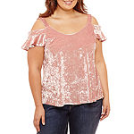 Self Esteem-Juniors Plus Womens Short Sleeve Velvet Blouse