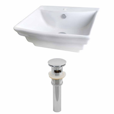 American Imaginations 19.75-in. W Above Counter White Vessel Set For 1 Hole Center Faucet