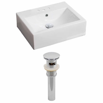 American Imaginations 20.25-in. W Above Counter White Vessel Set For 3H4-in. Center Faucet