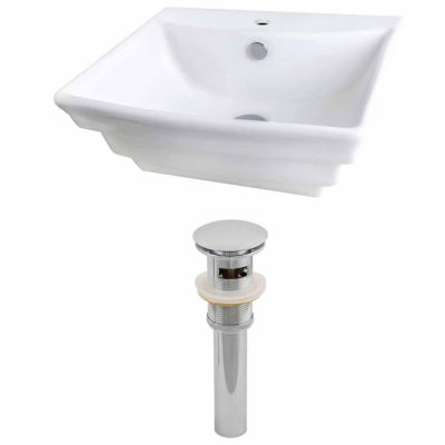 American Imaginations 19.75-in. W Wall Mount White Vessel Set For 1 Hole Center Faucet