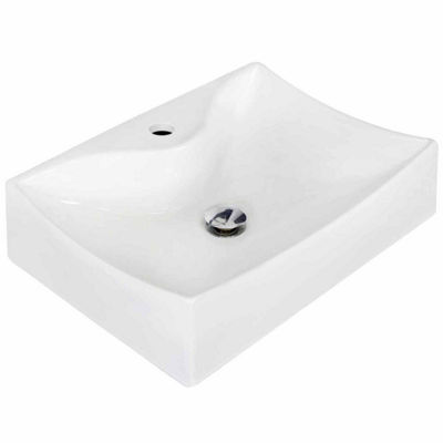 American Imaginations 21.5-in. W Above Counter White Vessel Set For 1 Hole Center Faucet