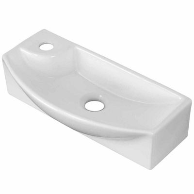 American Imaginations 17.75-in. W Above Counter White Vessel Set For 1 Hole Left Faucet