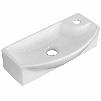 American Imaginations 17.75-in. W Wall Mount WhiteVessel Set For 1 Hole Right Faucet