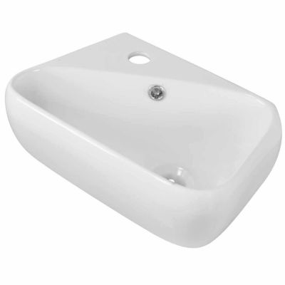 American Imaginations 17.5-in. W Above Counter White Vessel Set For 1 Hole Left Faucet