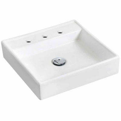 American Imaginations 17.5-in. W Wall Mount White Vessel Set For 3H8-in. Center Faucet