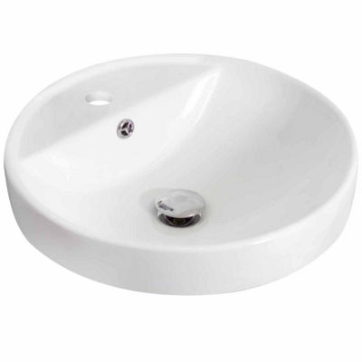 American Imaginations 18.25-in. W Drop In White Vessel Set For 1 Hole Center Faucet