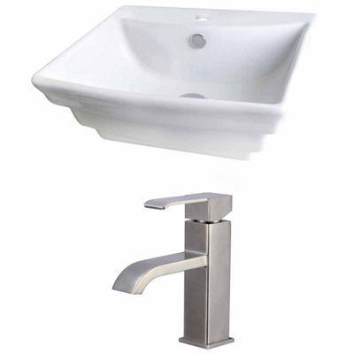 American Imaginations 19.75-in. W Above Counter White Vessel Set For 1 Hole Center Faucet - Faucet Included