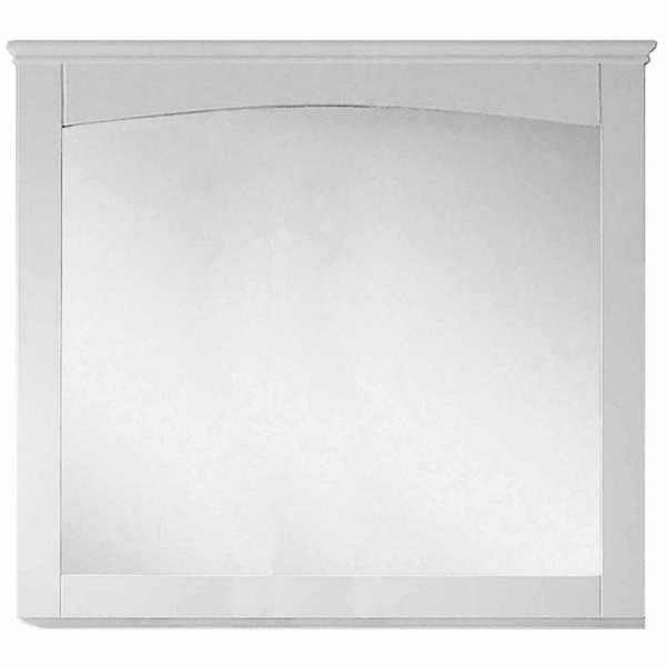 American Imaginations 36-in. W X 31.5-in. H Modern Plywood-Veneer Wood Mirror In White
