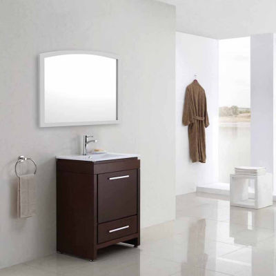 American Imaginations 35.43-in. W X 25.6-in. H Modern Birch Wood-Veneer Wood Mirror In White