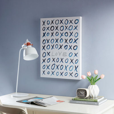 Intelligent Design XO Love Canvas With Silver Foil