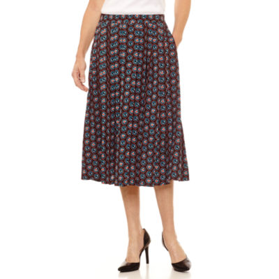Sag Harbor Ruffles Geometric Woven Pleated Skirt