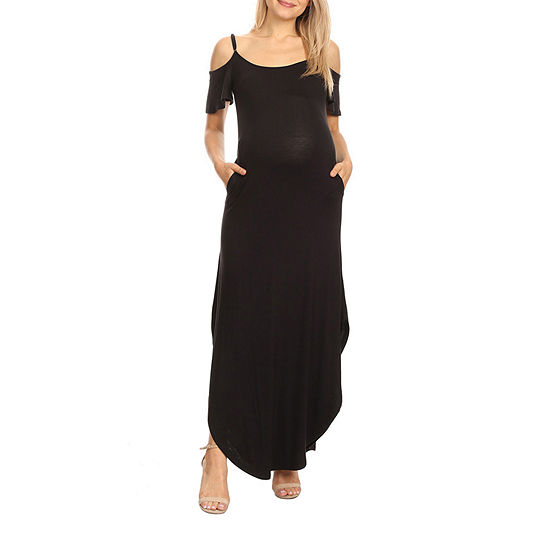 White Mark-Maternity Short Sleeve Maxi Dress
