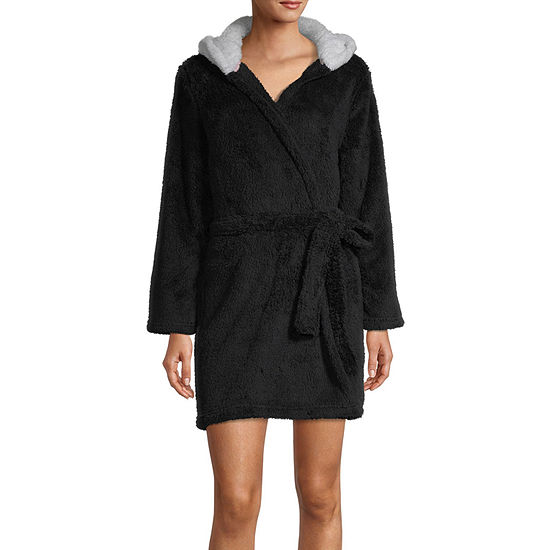 Rene Rofe Womens Fleece Robe Long Sleeve Short Length