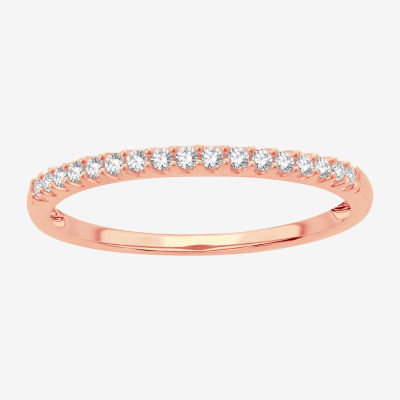 1/8 CT. T.W. Genuine White Diamond 10K Rose Gold Wedding Band