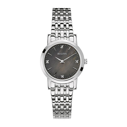 Bulova® Womens Diamond-Accent Stainless Steel Bracelet Watch 96P148