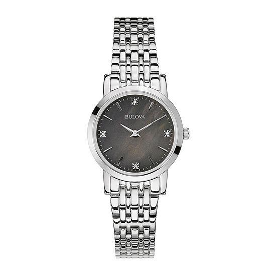 Bulova Classic Womens Silver Tone Stainless Steel Bracelet Watch-96p148