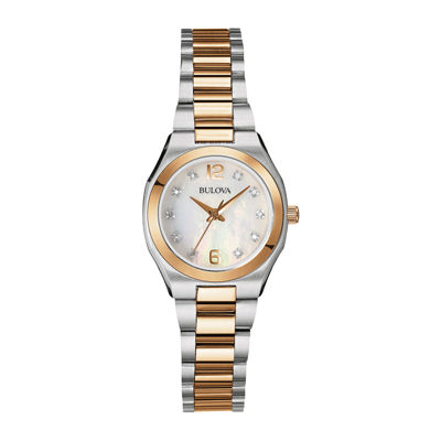 Bulova® Womens Diamond-Accent Two-Tone Stainless Steel Bracelet Watch 98P143
