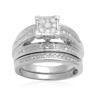 LIMITED QUANTITIES  1/2 CT. T.W. Diamond 10K White Gold Bridal Set