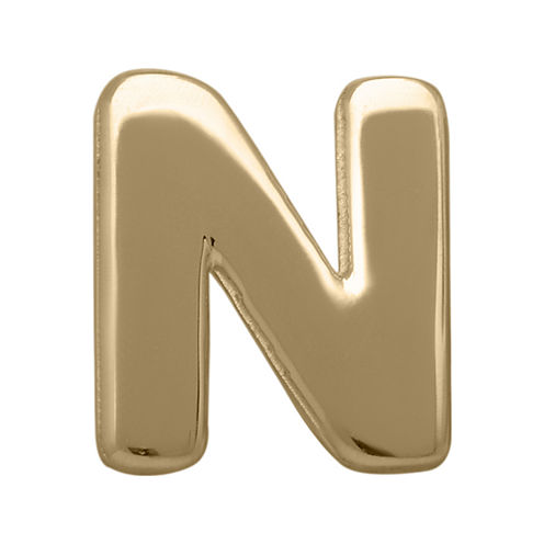 "Teeny Tiny® 10K Yellow Gold Initial ""N"" Single Stud Earring"