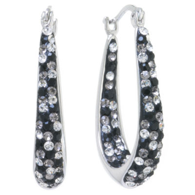 Sparkle Allure Silver Over Brass Hoop Earrings