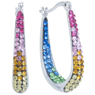 Sparkle Allure 1 1/4 Inch Hoop Earrings