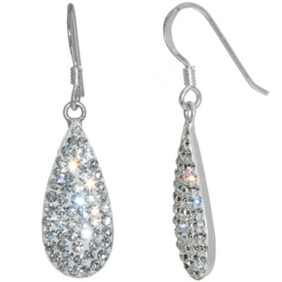 Sparkle Allure Silver Over Brass Drop Earrings