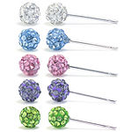Sparkle Allure Silver Over Brass Multi Color Crystal Earring Set