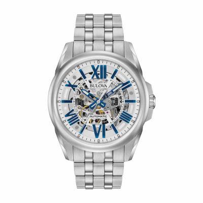 Bulova Mens Silver Tone Bracelet Watch-96a187