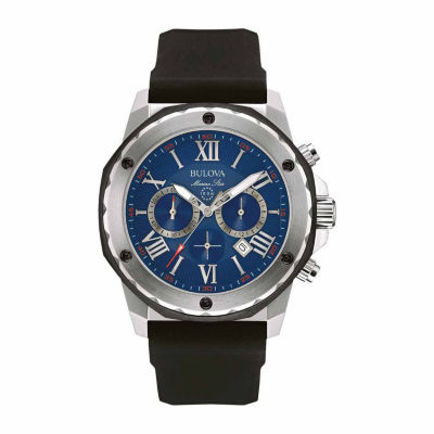 Bulova Men's Chronograph Marine Star Black Silicone Strap Watch 98B258