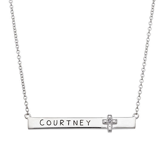 Personalized Sterling Silver with Diamond Accent Cross Name Necklace