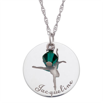 Personalized Sterling Silver Crystal Birthstone Dancer Name Pendant Necklace