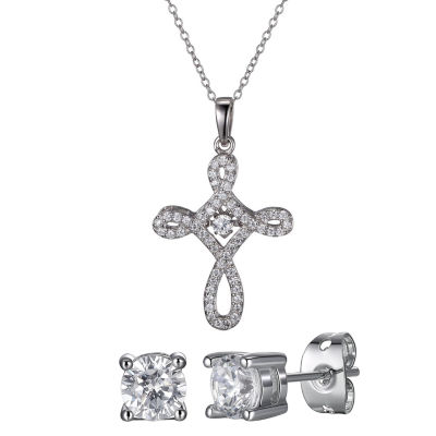 Diamonart Lab Created White Cubic Zirconia Sterling Silver Cross 2-pc. Jewelry Set