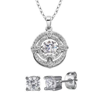 Diamonart Lab Created White Cubic Zirconia Sterling Silver 2-pc. Jewelry Set