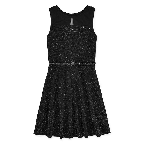 Total Girl Sparkle Belted Skater Dress - Girls' 7-16 and Plus