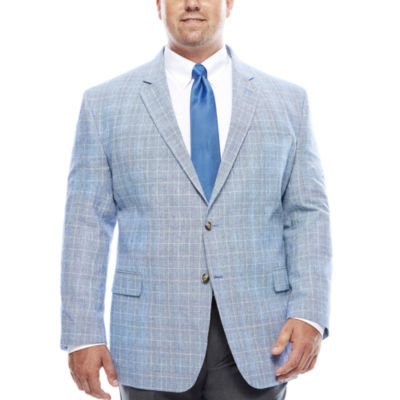 Stafford® Bright Blue Plaid Linen-Cotton Sport Coat - Big & Tall