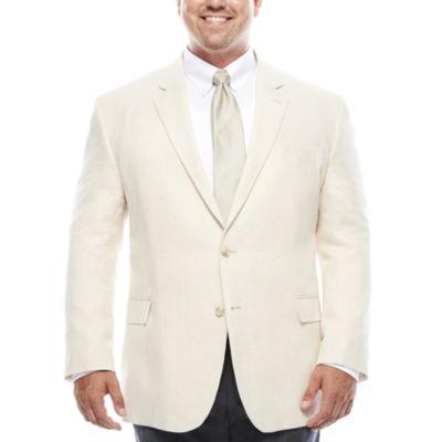 Stafford® Bone Herringbone Linen-Cotton Sport Coat - Big & Tall